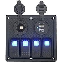 ezykoo DC 12V/24V Impermeabile 4Gang Interruttore LED Interruttore a bilanciere pannello con presa di corrente presa accendisigari Dual USB caricabatteria adattatore per auto trcuk rimorchio rv atv barca marino