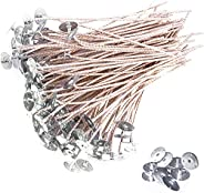 Monico 6 Inch 100pcs Thick Gauge Wick, Natural Candle Wick Pre-Waxed with 10 Free Metal Bases, Fit Container D