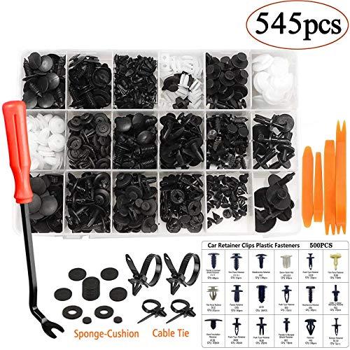 456 Stücke Befestigung Clips Türverkleidung Universal Klammern Stoßstangen Befestigung Clips Set mit Lösewerkzeug, Kabelbinder und Schwammig Kissen