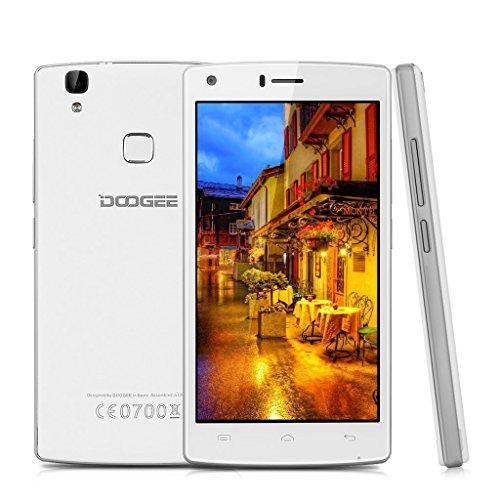 Smartphone ohne Vertrag, DOOGEE X5 MAX Dual SIM Android 6.0 Handy, 5 Zoll HD Display, MTK6580 Quad Core, 1GB RAM + 8GB ROM - 8MP + 8MP Kameras, 4000mAh mit Fingerabdruck Sensor - Weiß Entsperren Bei&t-handys