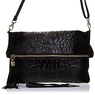 Firenze Artegiani Cartera De Mujer Piel Auténtica, Motivo Cocodrilo Y Lacado Messenger Bag, 27 cm, Black (Negro)