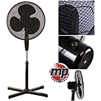 "Daewoo 16"" Electric Oscillating Floor Standing Pedestal Air Cooling Fan (Black)"