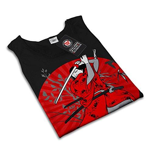 Japan Samurai Kunst Ehre Kämpfer Damen S-2XL Muskelshirt | Wellcoda Schwarz