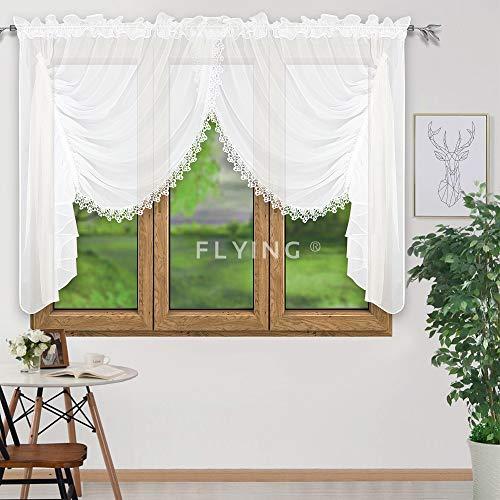 FKL Schöne Fertiggardine Fenstergardine Gardine aus Voile mit Faltenband Kräuselband Store Kurz Modern Fenster Weiß Gipüre 150x400 cm LB-11-2