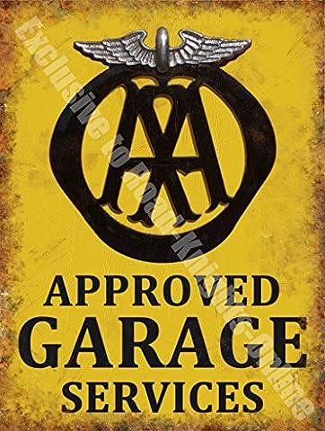 AA Approved Garage Services Breakdown Vintage Workshop Small Metal/Steel Wall