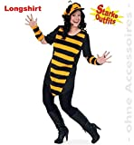 Biene Big Bee mit Plüsch 54 1tlg Damen Longshirt Big Shirt Fasching Bienen-Kostüm für starke Frauen große Groessen