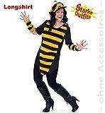 narrenwelt Abeja Big Bee con Peluche 1tlg Mujer Manga Larga Big Camiseta Fasching Abejas de Disfraz para Fuerte Mujeres Grandes Estrellas 46, 50, 54