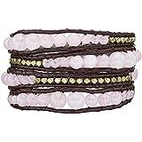Rafaela Donata - Bracelet en cuir véritable - Cuir véritable quartz rose, bracelet quartz rose, collier en cuir véritable, bijoux en cuir, bijoux en quartz rose - 60831007