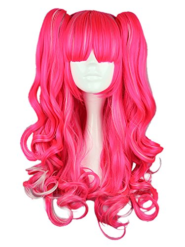 CLOCOLOR Cosplay Perücke Pink Lolita lockige Wigs Lange Pferdeschwanz Heiz Resistent Kostüm Party Manga Karneval Halloween Perücke