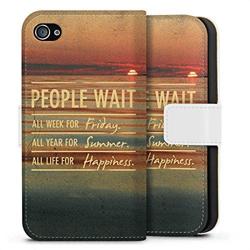 Apple iPhone X Silikon Hülle Case Schutzhülle Sprüche Sommer Glücklich Sideflip Tasche weiß