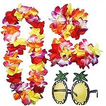 iLoveCos Accesorios de Gafas de Sol de Piña y Luau Hawaianas Flor Lei Tropicales Collar Floral