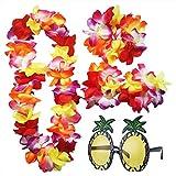 iLoveCos Accesorios de Gafas de Sol de Piña y Luau Hawaianas Flor Lei Tropicales Collar Floral Pulsera Diadema Set de Vestido de Disfraces de Fiesta