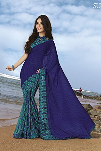 Subhash Sarees Blue Color Chiffon and Georgette Printed Saree  available at amazon for Rs.1434