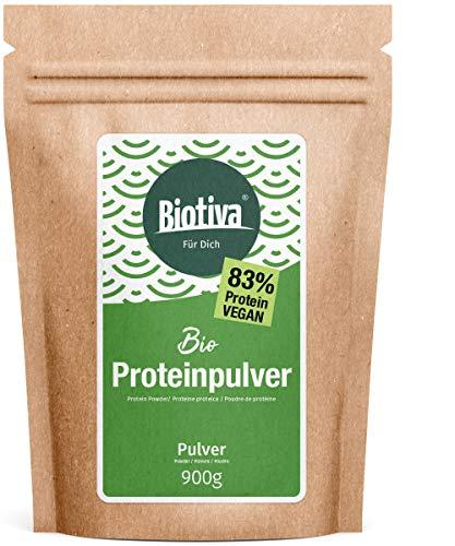 Vegan Protein Pulver (Bio), 900g - 83% Protein - Erbsenprotein und Reisprotein - 23g Eiweiß pro Dosis - Top Bioqualität - Ohne Soja - Vegan - Abgefüllt und kontrolliert in Deutschland (DE-ÖKO-005)