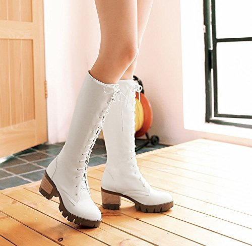 Mee Shoes Damen modern chunky heel mit Schnürsenkel langschaft Stiefel Weiß