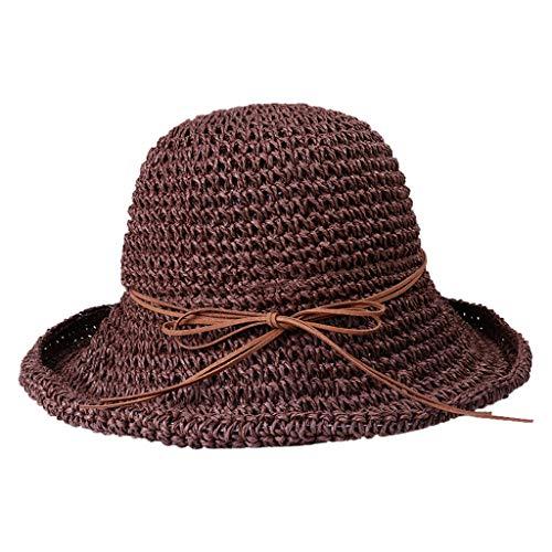 Knowin-Hut Faltbarer handgemachter Fischer Strohhut des Frühlings Sommer Damen Sonnenschutzes Strandkappe Frauen Stroh Fischer Hut Sun Hat