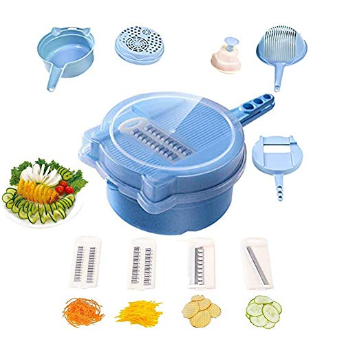 CWeep Vegetable Chopper Cutter Spiralizer,9 in 1 Multi-Function Cutter Slicer Dicer Easy Food Chopper Slicer Dicer Tool Manual Mandoline for Cheese Onion Chopper (Blue) Cutter-chopper
