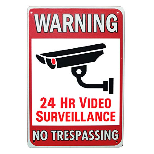 SIGNT Warnschild 24 Stunden Videoüberwachung No Trespassing Metall Blechschild Dekoration Outdoor Schilder für Sicherheitskamera Warnung Retro Vintage Wand Hausschild 8 x 12 - Außerhalb Der Home-security-kameras