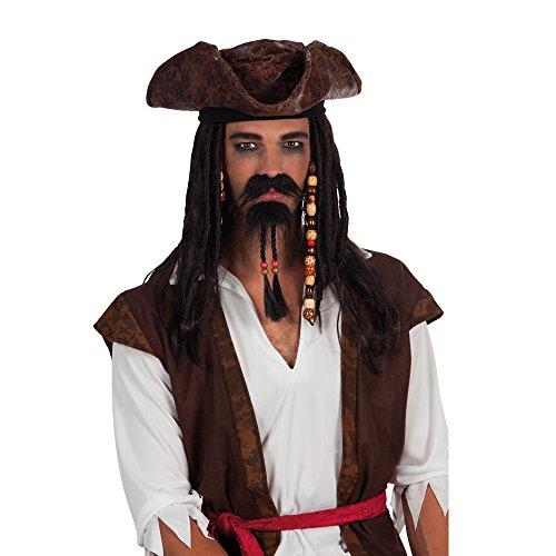 PARTY DISCOUNT Bart Pirat mit Perlen, schwarz
