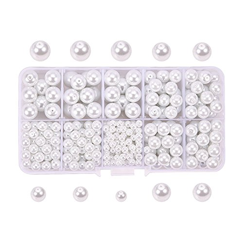 Kailusee 440 Stück Elfenbein weiß Glasperlen Perlen für Schmuck machen, Perlen Handwerk, DIY Zubehör, 4mm 6mm 8mm 10mm gemischte Größe, Aufbewahrungsbox Verpackung (Schmuck Box Organizer Billig)