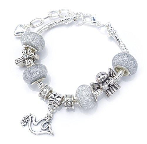 'Silver Sparkle' bracciale charm con ciondoli per Cresima con scatola regalo.