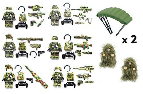 MAGMABRICK Bosque de Camuflaje del Ejército de la Fuerza Especial del Soldado Compatible con los Bloques de construcción de Marcas Principales