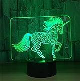 Atmko®3D Nachtlicht Visualisierung Glow 7 Farbwechsel USB Touch-Taste Und Intelligente Fernbedienung Schreibtisch Tisch Beleuchtung Schönes Geschenk Home Office Dekorationen Spielzeug (Super Cool Einhorn)