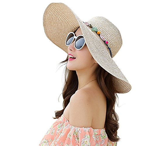 Amorar Mode Faltbare Breiter Krempe Stroh Handgefertigte Sonnenhut Kappe Floppy Beach Hut Sonnenblende Große Krempe Hut für Frauen,EINWEG Verpackung