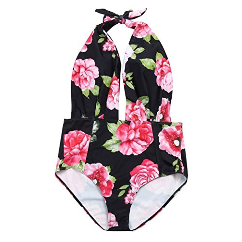 Halfter Bademode Damen Print Badeanzug Siamese Bikini-Sets GreatestPAK,Rosa,L