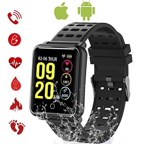 TagoBee TB06 IP68 Wasserdichte Smart Watch HD Touchscreen Fitness Tracker Unterstützung Blutdruck Herzfrequenz Schlafüberwachung Schrittzähler kompatibel mit Android und IOS (Schwarz 2)