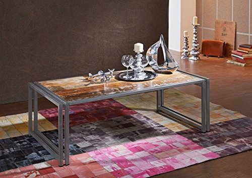 Table basse 130x70cm - Métal et bois massif recyclé laqué (Multicolore) - Style Urbain - NEW YORK #11