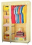 Evana 3.5 Feet Creative Cream Cabinet,Easy Installation Folding Wardrobe Cupboard Almirah Foldable Storage Rack Collapsible Cloths Organizer