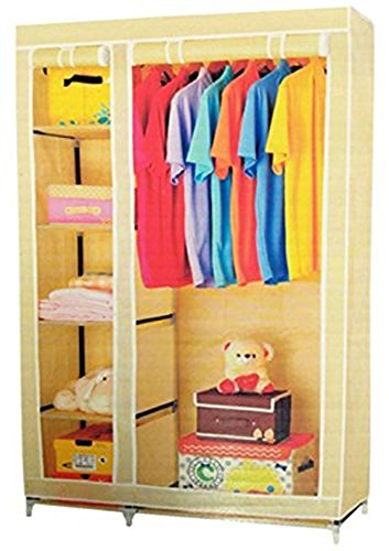 Evana 3.5 Feet Creative Cream Cabinet,Easy Installation Folding Wardrobe Cupboard Almirah Foldable Storage Rack Collapsible Cloths Organizer  available at amazon for Rs.1299