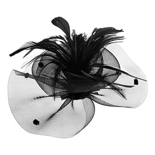 FakeFace Fascinator Hüte mit Feder Blumen Haar Clip Haarreif Haar Accessoire Netz-Mütze Schleier Tea Party Hochzeit Kirche Haarschmuck Kopfschmuck Kopfbedeckung für Frauen,schwarz