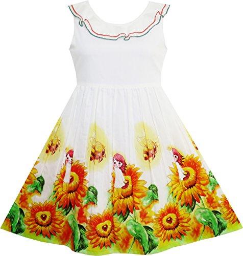 Sunny Mädchen-kleidung (Mädchen Kleid Sonnenblume Garten Ablehnen Kragen Ärmellos Gr.104)