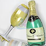 Champagne/Wine glass (1pc, 36 inch) and Champagne bottle (1pc, 36 inch) shaped balloons for party decorations
