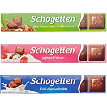 Schogetten Riegel 3-fach sortiert mit den Sorten:  8 x Alpenvollmilch, 8 x Alpenvollmilch-Nuss, 8 x Joghurt-Erdbeer, 1-er Pack (24 Stück  x 33 g)
