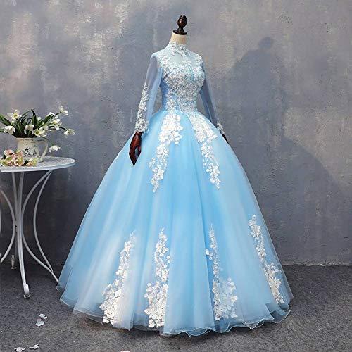 QAQBDBCKL EIS Königin Stickerei Ballkleid Cartoon Vintage mittelalterlichen Kleid Renaissance Prinzessin Fee Kostüm Victoria Kragen Kleid (Eis Fee Kostüm)
