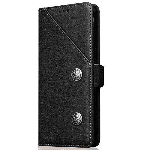 Kunst Leder Handyhülle Handytasche für Samsung Galaxy Note 8 mit Kartenfach Geldklammer Hülle Handy Schutzhülle abnehmbar Kartenspeicher, 3 Farben verfügbar Schwarz