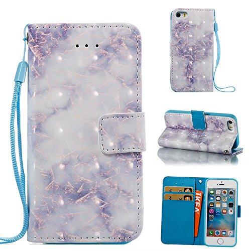 GR Für iPhone 5S & SE - Marmor Steinkorn Texure Muster PU-Leder Case Cover, Retro Bookstyle Flip Stand Case mit Magnetverschluss und Kartensteckplätze & Lanyard ( Color : A ) A