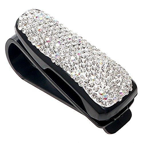 itimo Automatischer Verschluss Clip Gläser Fällen Strass Diamant Aufbewahrung Halterung Auto Styling tragbar Sonnenblende Sonnenbrille Brille Halter (weiß)