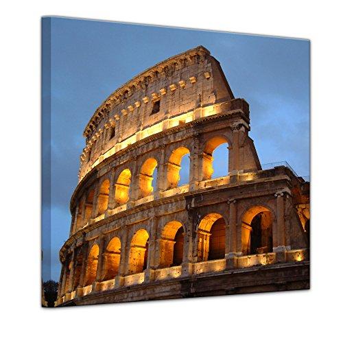 Kunstdruck - Rom - Kolosseum in der Dämmerung - Bild auf Leinwand 60 x 60 cm - Leinwandbilder - Bilder als Leinwanddruck - Wandbild von Bilderdepot24 - Städte & Kulturen - Europa - Italien - Amphitheater am Abend