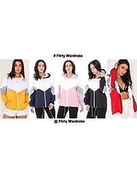 FLIRTY WARDROBE Womens Colour Block Festival Jacket Bomber Coat Contrast Hooded Windbreaker Cute