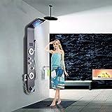 Saeuwtowy Colonne de Douche LED Panneau de Douche Murale Style Moderne en Acier Inoxydable 304 Panneau de Douche Avec Douche à Main Multi-fonctionnel L'eau de Sortir