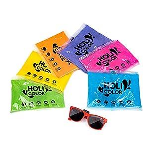 HoliColor- Pack 6 Bolsas de polvos Holi, color azul, naranja, verde, amarillo, rosa, violeta + Gafas de sol, TheColorShop 6)