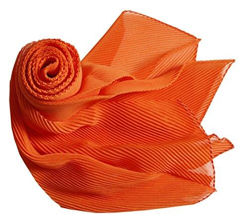 Prettystern - pieghe ondulato damenschal strappato in 180 centimetri tinta unita lungo leggermente scanalato - 8 orange