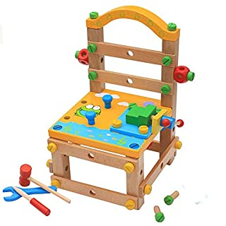 Little Toys Children's Early Education Puzzle Disassembly Assembly Screw Combination Wooden Blocks Boy Toy Multi-function Tool Chair Luban Chair