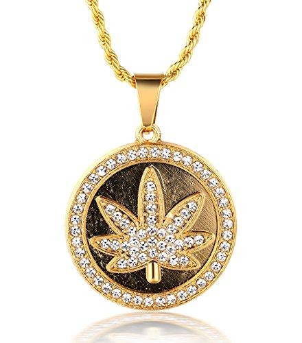 """Halukakah ● Marihuana ● Männlich 18k Echt Vergoldet Kiffen Marihuana Anhänger Künstliche Diamanten Gesetzt Halskette mit Kostenloser Seil Kette 30\"""""""