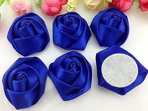 DIY 5/25PCS Satin Ribbon Rose Flower 40.00mm craft/Wedding decoration,25PCS,Deep Blue