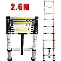 CohesiveTech Escalera telescópica de aluminio–2,60m, 9Pasos–estándares EN131